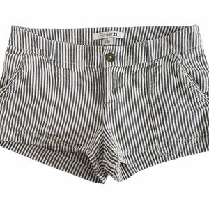 FOREVER21 Striped Cotton Midrise Shorts Size Large